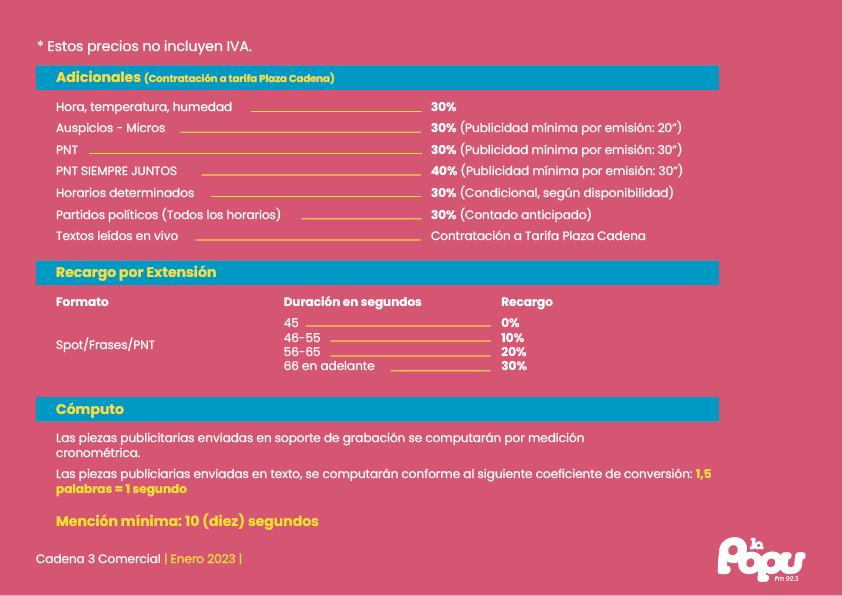 Programación y tarifas de La Popu